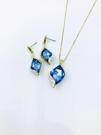 gold+light blue glass Trend Irregular Zinc Alloy Glass Stone Red Enamel Earring and Necklace Set