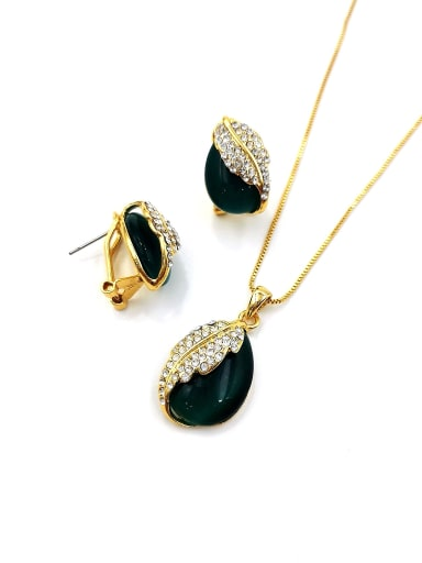 Green Dainty Water Drop Zinc Alloy Cats Eye White Earring and Necklace Set