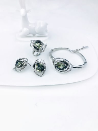 imitation rhodium+grey glass stone Zinc Alloy Glass Stone Red Trend Irregular  Ring Earring And Bracelet Set