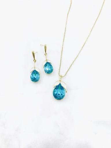 Blue Dainty Water Drop Zinc Alloy Glass Stone Purple Enamel Earring and Necklace Set