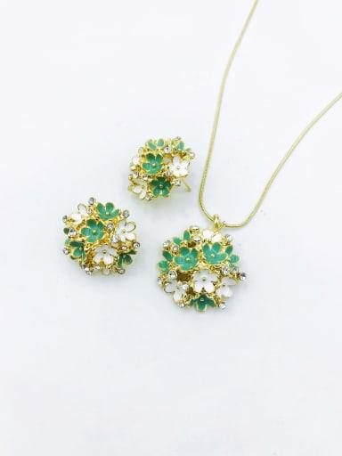 Green Statement Flower Zinc Alloy Rhinestone Clear Enamel Earring and Necklace Set