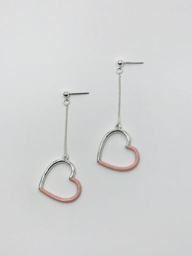 PLATINUM+PINK Zinc Alloy Enamel Heart Minimalist Drop Earring