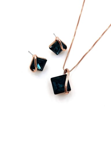 Blue Minimalist Square Zinc Alloy Glass Stone Blue Earring and Necklace Set