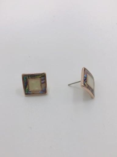 Rose Zinc Alloy Shell Multi Color Square Minimalist Stud Earring