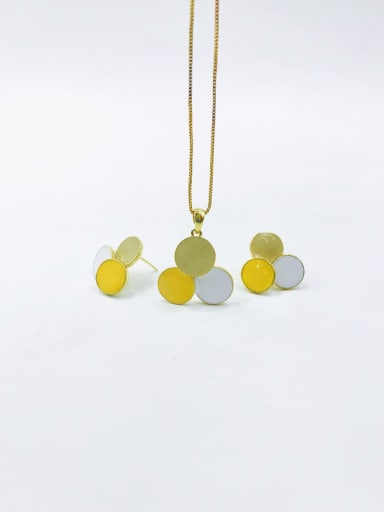 Beige+yellow+white Trend Geometric Zinc Alloy Enamel Earring and Necklace Set