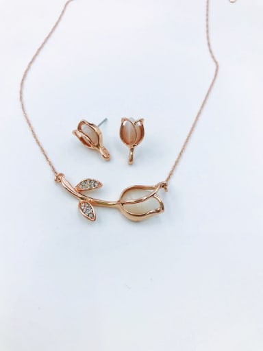 Rose Dainty Flower Zinc Alloy Cats Eye White Earring and Necklace Set