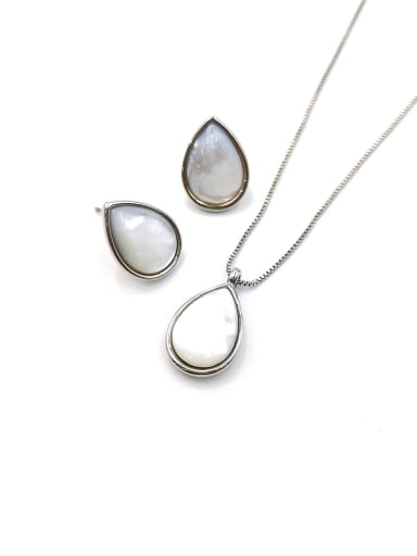 Silver Minimalist Water Drop Zinc Alloy Shell White Earring and Necklace Set