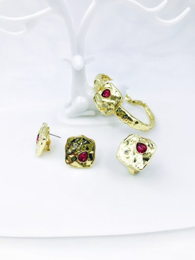 Red Zinc Alloy Glass Stone Red Trend Irregular Ring Earring And Bracelet Set