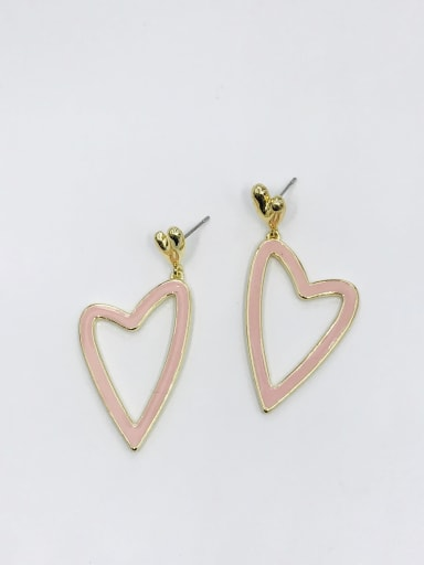 GOLD+PINK Zinc Alloy Enamel Heart Minimalist Drop Earring