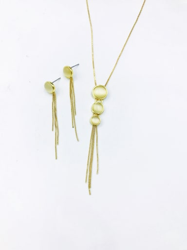 Gold Trend Round Zinc Alloy Cats Eye White Earring and Necklace Set