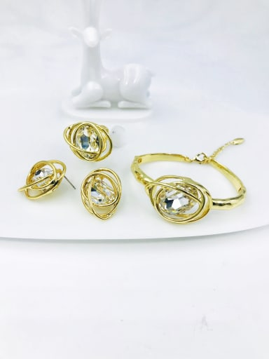 gold+clear glass stone Zinc Alloy Glass Stone Red Trend Irregular  Ring Earring And Bracelet Set