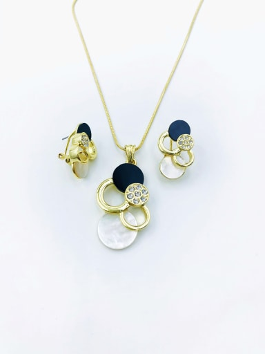 Gold Classic Geometric Zinc Alloy Shell White Acrylic Earring and Necklace Set