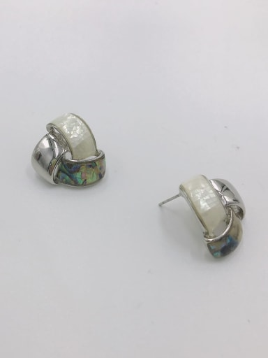 Silver Zinc Alloy Shell Multi Color Irregular Minimalist Stud Earring