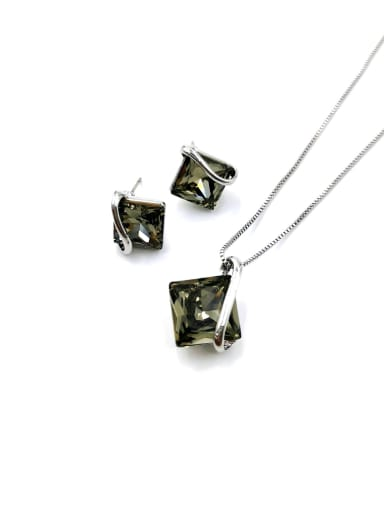 Gray Minimalist Square Zinc Alloy Glass Stone Blue Earring and Necklace Set