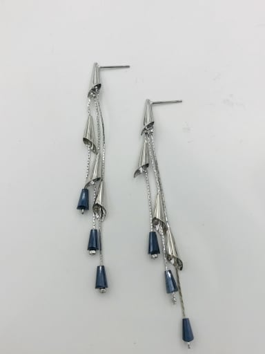 RHODIUM+BLUE Zinc Alloy Crystal Blue Tassel Trend Drop Earring