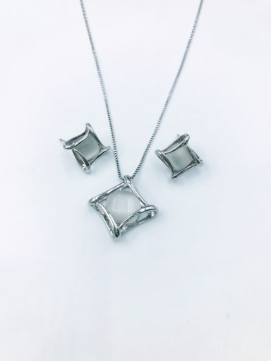 Silver Minimalist Square Zinc Alloy Cats Eye White Earring and Necklace Set