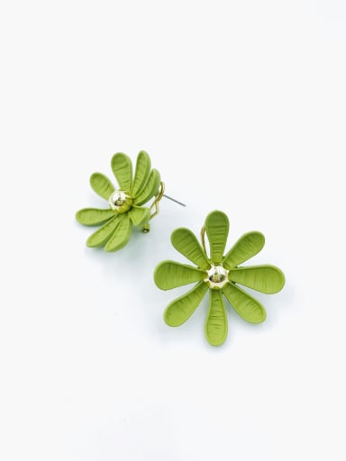 Green Zinc Alloy Flower Statement Clip Earring