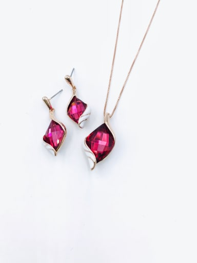 rose gold+red glass Trend Irregular Zinc Alloy Glass Stone Red Enamel Earring and Necklace Set