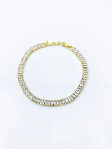 Gold Brass Cubic Zirconia Clear Minimalist Bracelet