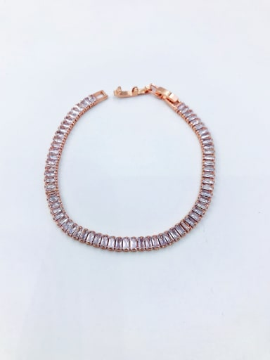Rose Brass Cubic Zirconia Clear Minimalist Bracelet