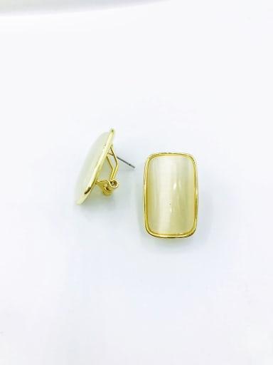 Gold Brass Cats Eye White Rectangle Minimalist Clip Earring