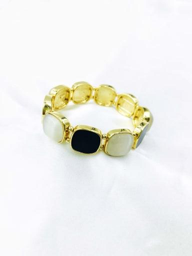 Gold Zinc Alloy Cats Eye White Acrylic Square Trend Band Bangle