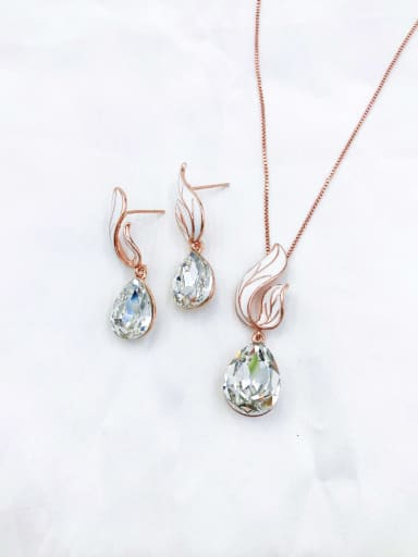 rose gold+clear stone Dainty Water Drop Zinc Alloy Glass Stone Champagne Enamel Earring and Necklace Set
