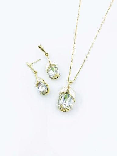 Clear Dainty Water Drop Zinc Alloy Glass Stone Purple Enamel Earring and Necklace Set