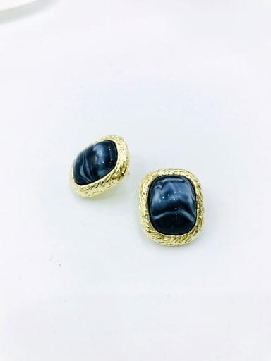 Black Zinc Alloy Resin Black Rectangle Minimalist Stud Earring
