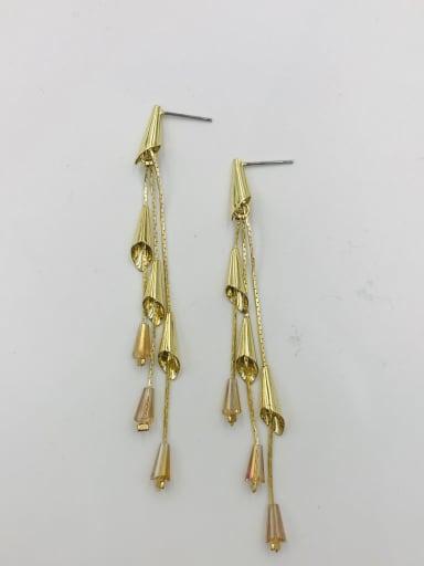 GOLD+CHAMPAGNE Zinc Alloy Crystal Blue Tassel Trend Drop Earring