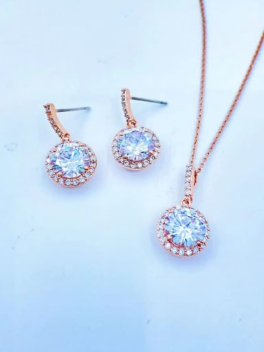 Rose Minimalist Round Brass Cubic Zirconia Clear Earring and Necklace Set