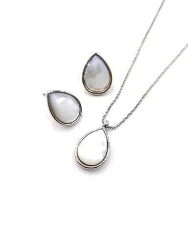 imitation rhodium Minimalist Water Drop Zinc Alloy Shell White Earring and Necklace Set
