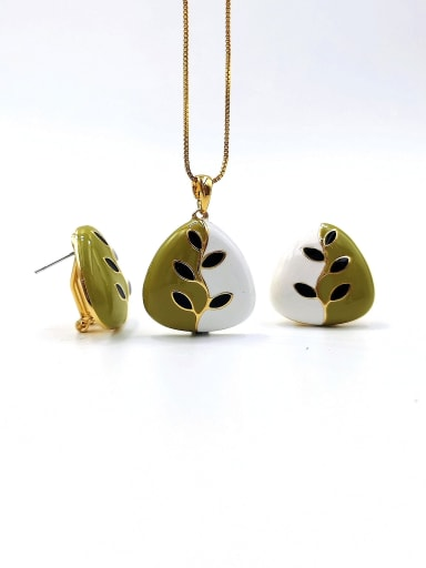 gold+green+white+black Trend Triangle Zinc Alloy Enamel Earring and Necklace Set