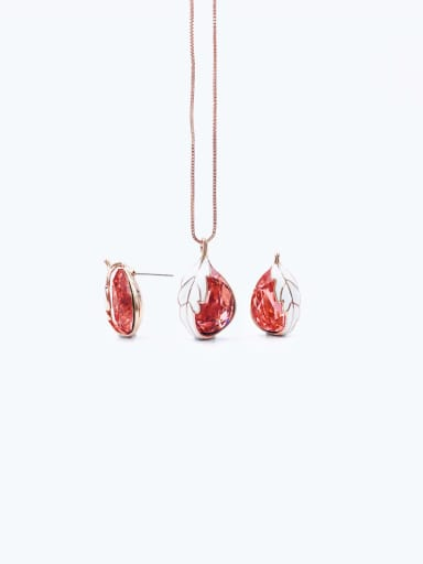 rose gold+red stone Trend Water Drop Zinc Alloy Glass Stone Blue Enamel Earring and Necklace Set