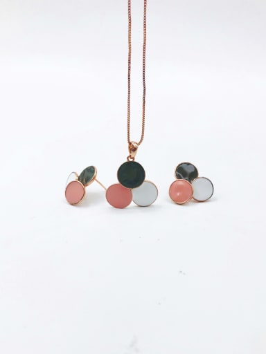 gray+white+pink Trend Geometric Zinc Alloy Enamel Earring and Necklace Set
