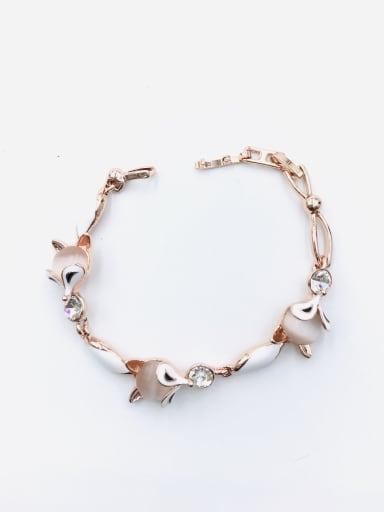 White Zinc Alloy Cats Eye White Enamel Fox Trend Bracelet
