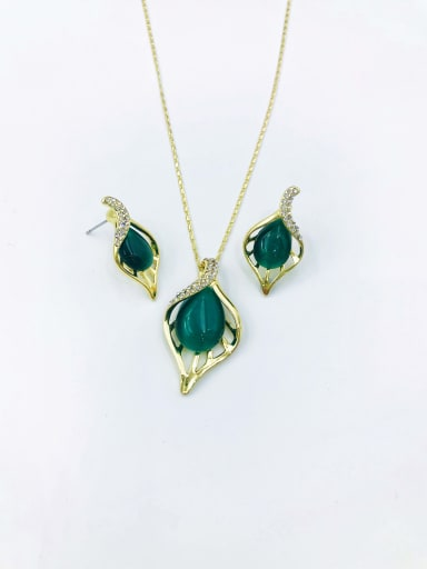 Green Trend Leaf Zinc Alloy Cats Eye Red Earring and Necklace Set