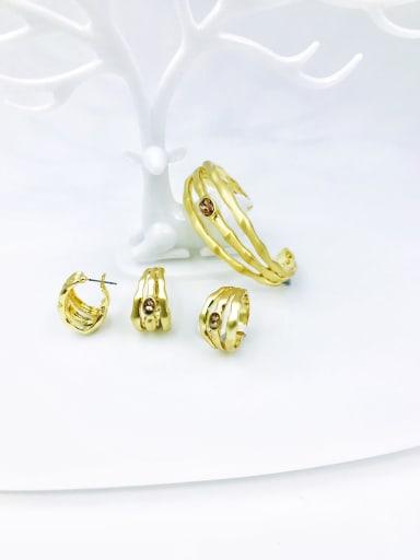brown Zinc Alloy Glass Stone Blue Minimalist Irregular  Ring Earring And Bracelet Set