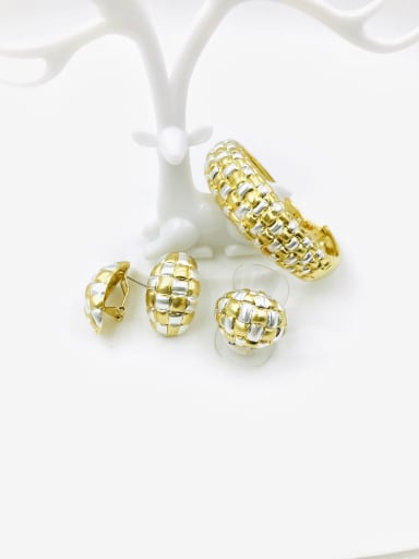 gold+imitation rhodium Zinc Alloy Trend Ring Earring And Bracelet Set