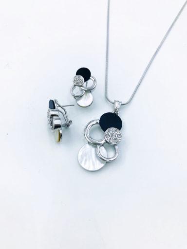 imitation rhodium Classic Geometric Zinc Alloy Shell White Acrylic Earring and Necklace Set