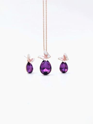 Dainty Butterfly Zinc Alloy Glass Stone Purple Enamel Earring and Necklace Set