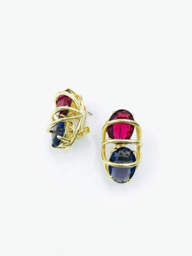 gold+red&purple glass Brass Glass Stone Multi Color Oval Luxury Clip Earring
