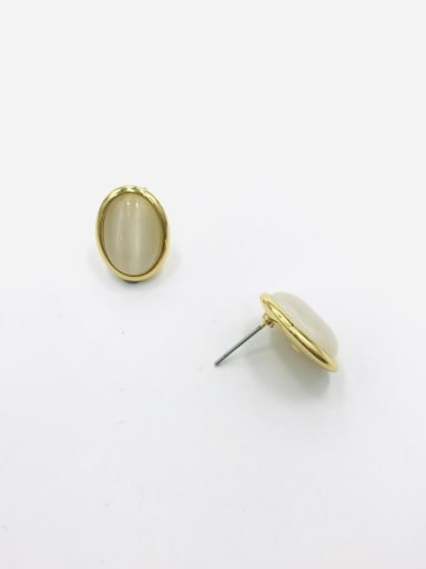 GOLD+WHITE Zinc Alloy Cats Eye White Oval Minimalist Stud Earring
