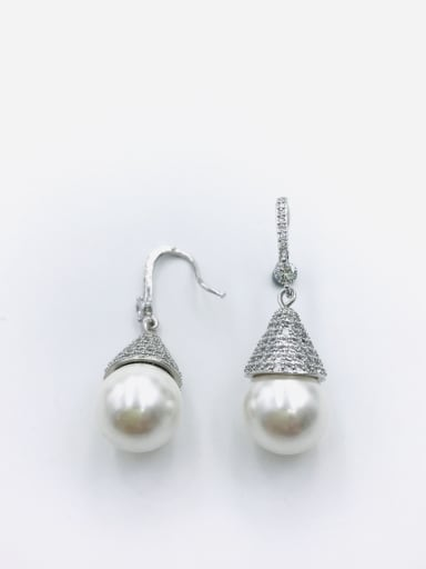 Silver Brass Imitation Pearl White Water Drop Dainty Hook Earring