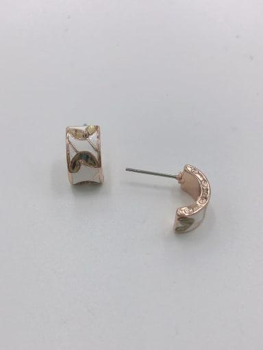 Rose Zinc Alloy Shell Multi Color Enamel Irregular Dainty Stud Earring