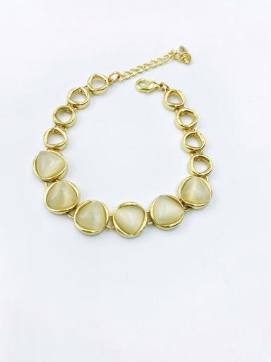 Gold Zinc Alloy Cats Eye White Geometric Minimalist Bracelet