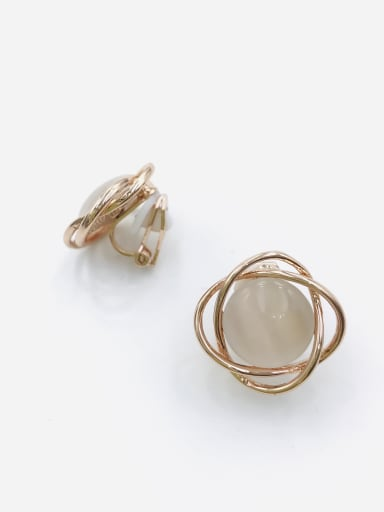 White Zinc Alloy Cats Eye White Irregular Minimalist Clip Earring