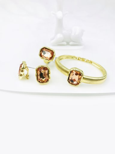 light peach color Zinc Alloy Glass Stone Clear Minimalist Geometric Ring Earring And Bracelet Set