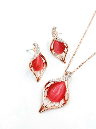 Red Trend Leaf Zinc Alloy Cats Eye Red Earring and Necklace Set