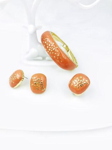 orange Zinc Alloy Enamel Minimalist Rectangle Ring Earring And Bracelet Set